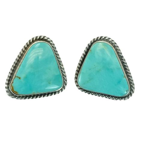 Sterling Silver and Turquoise Trishaped Stud Earrings