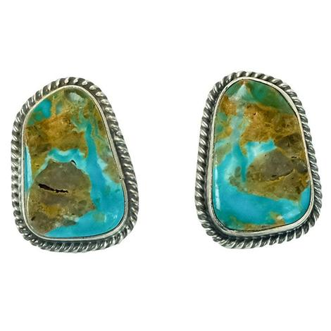 Sterling Silver and Turquoise and Ochre Merle Stone Stud Earrings