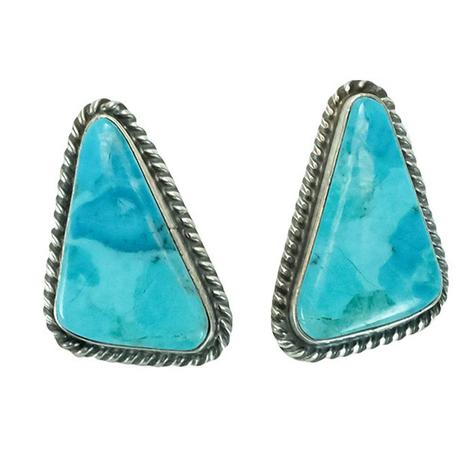 Sterling Silver and Robin's Egg Blue Turquoise Stone Triangle Stud Earrings