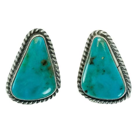 Sterling Silver and Flecked Blue Turquoise Stone Triangle Stud Earrings