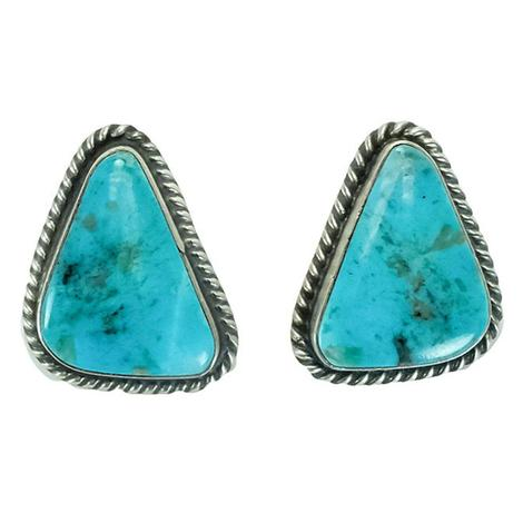 Sterling Silver and Skyblue Flecked Turquoise Triangle Stud Earrings