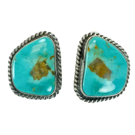 Sterling Silver and Hazel Flecked Green Blue Turquoise Stud Earrings