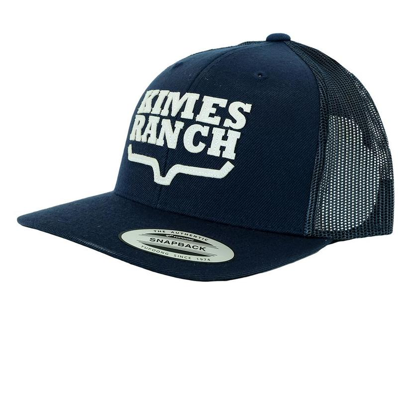 5cf8a542 Kimes Ranch Stacked Trucker Navy Blue Meshback Cap