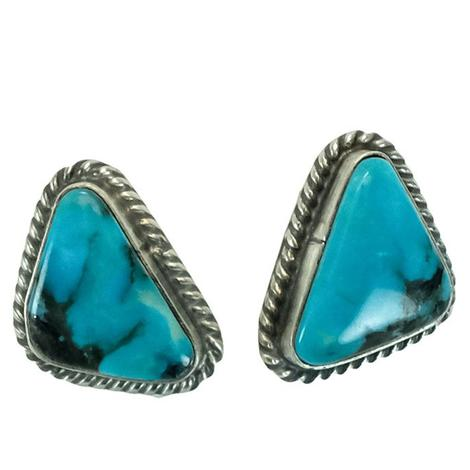 Sterling Silver and Turquoise with Black Triangle Stud Earrings