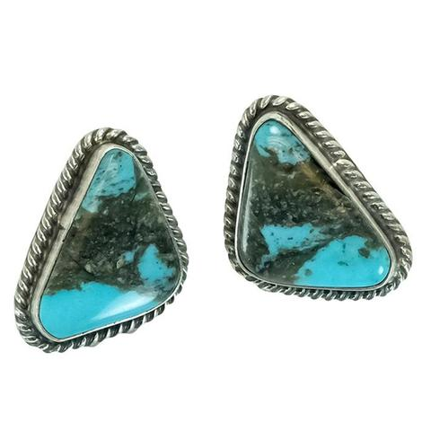 Sterling Silver and Black Rock Turquoise Stone Triangle Stud Earrings