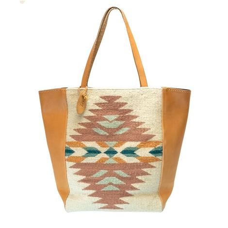 Anotnia Market Tote Creme Coral Turquoise