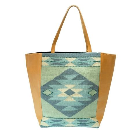 Antonia Diamond Green Blue Natural Market Tote