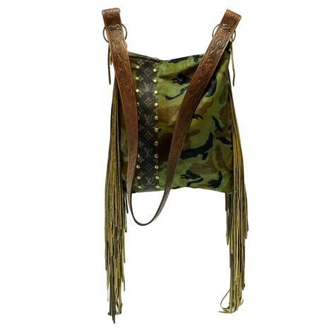 Camo Luis Vuitton Strip Hazel Crossboy Bag