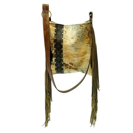 Distressed Cowhide Luis Vuitton Strip Hazel Crossbody Bag