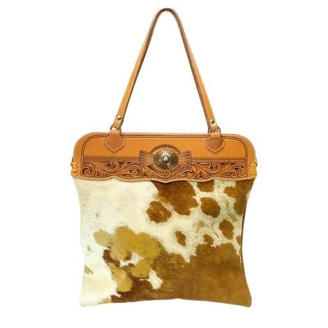 Large Brown Speckle Cowhide Tote with Leather Tooling