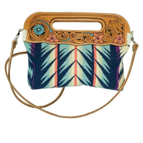 Small Turquoise Pendleton Clutch with Leather Tooling