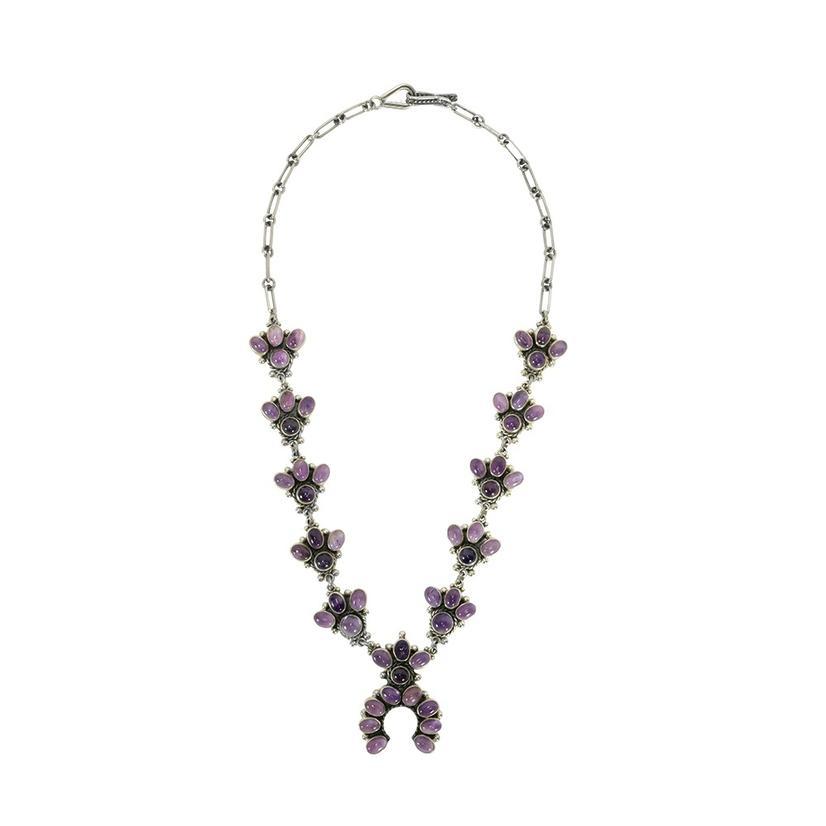 Amethyst Baby Squash Blossom Stone Necklace