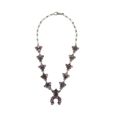 Amethyst Baby Squash Blossom Stone Necklace