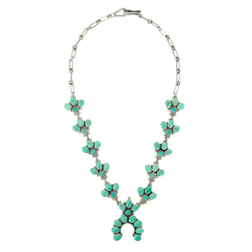 Turquoise Baby Squash Blossom Necklace