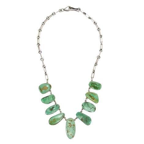 Sterling Silver and Nine Stone Multi Green Turquoise Necklace