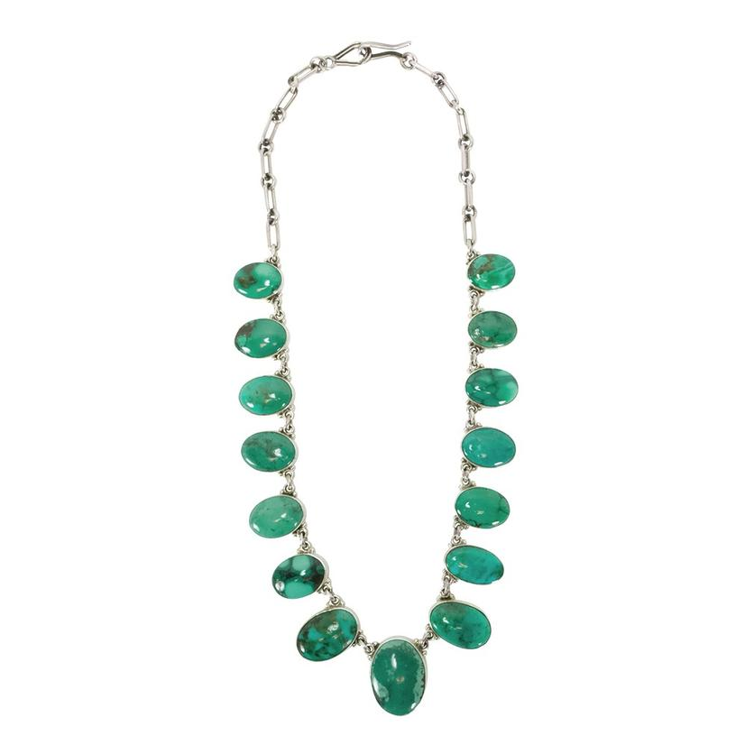 Sterling Silver And Fifteen Stone Green Turquoise Necklace