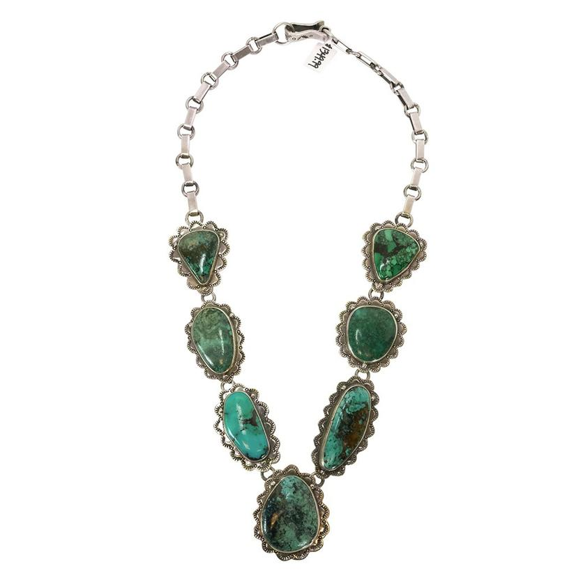 Sterling Silver And Large Blue Green Turquoise Necklace