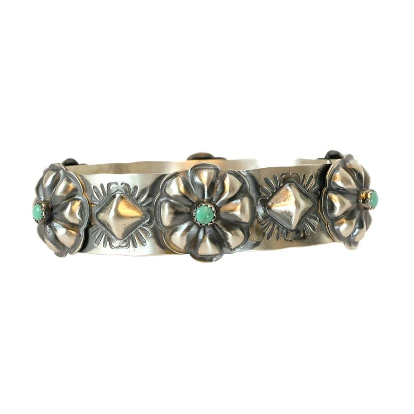 Sterling Silver Flower Style With Turquoise Stone Bangle