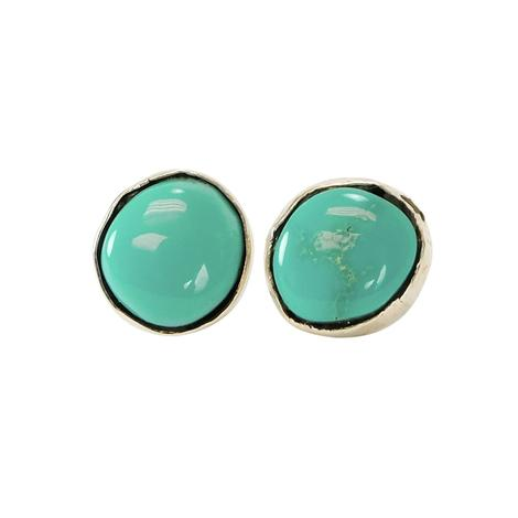 Navajo Sterling Silver and Kingman Turquoise Stud Earrings