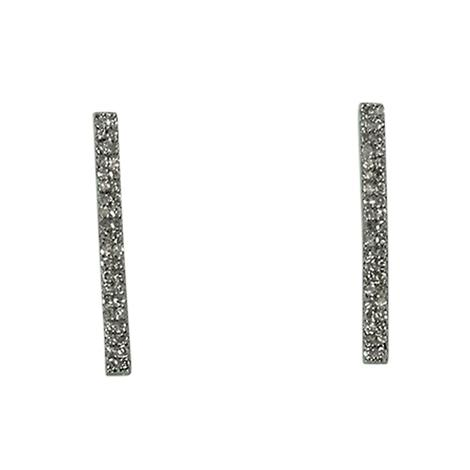 Sterling Silver Rough Cut Diamonds Long Bar Earrings