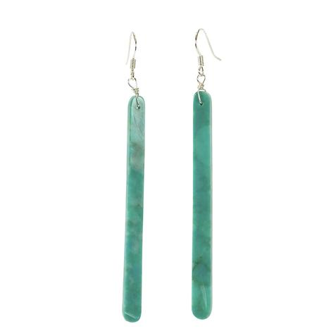 Long Skinny Turquoise Slab Earrings