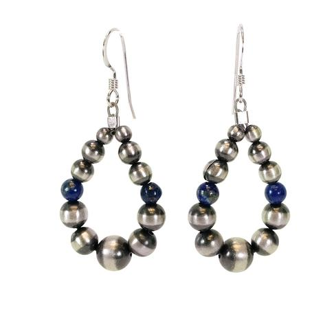 Navajo Pearl and Lapis Drop Earrings