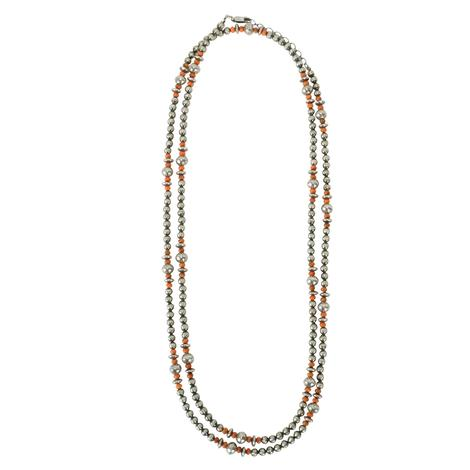 Navajo Pearl and Orange Bead 48inch Long Strand Necklace