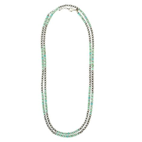 Navajo Pearl and Turquoise 48inch Long Strand Necklace