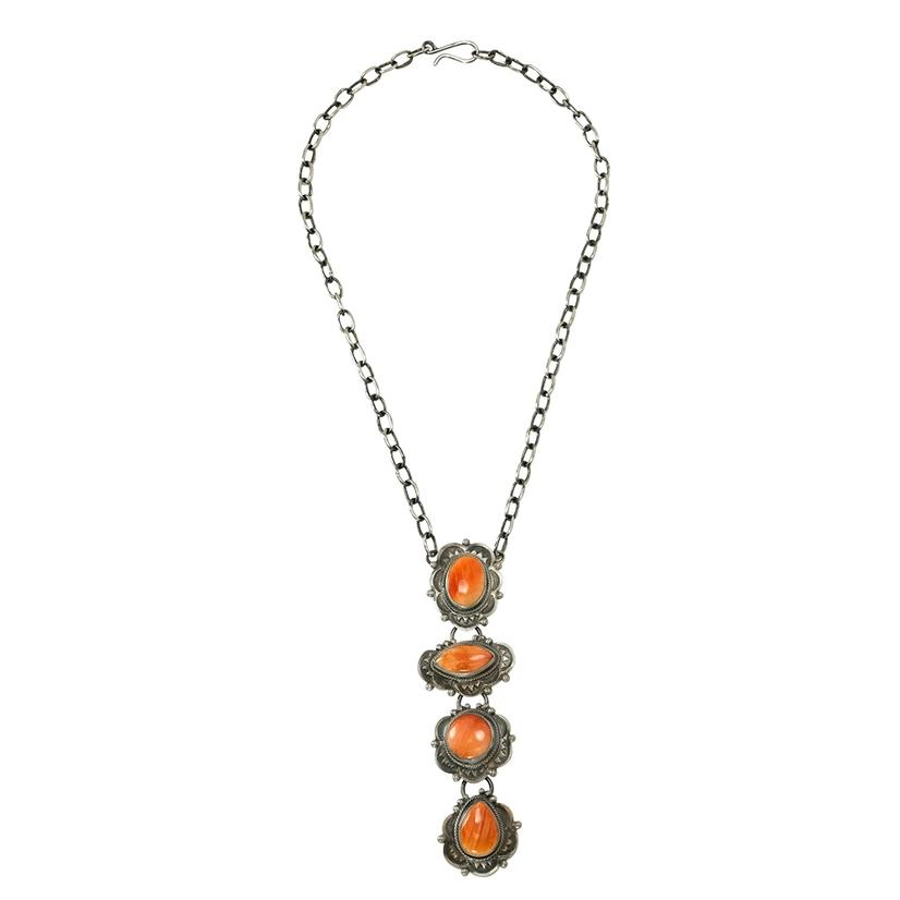 Spiny Oyster Four Stone And Chain Lariat Necklace