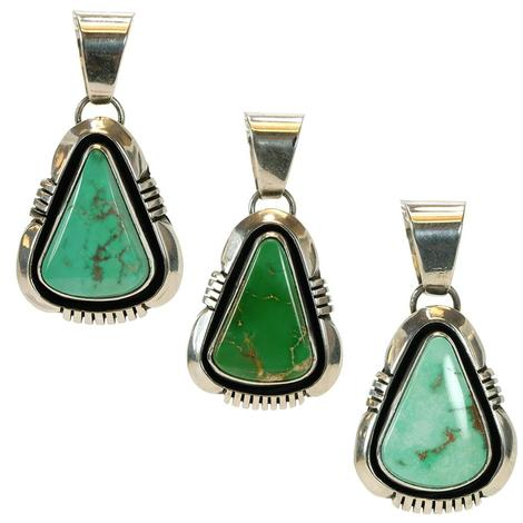 Sterling Silver and Triangle Turquoise Stone Pendants - Various