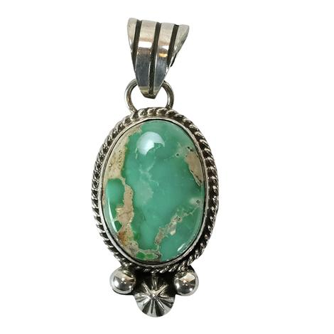 Sterling Silver Multi Light Green Turquoise Oval Pendant