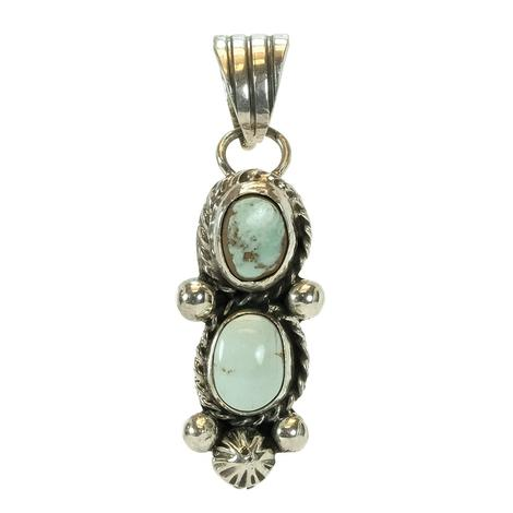 Sterling Silver Double Opal Green Turquoise Stone Pendant