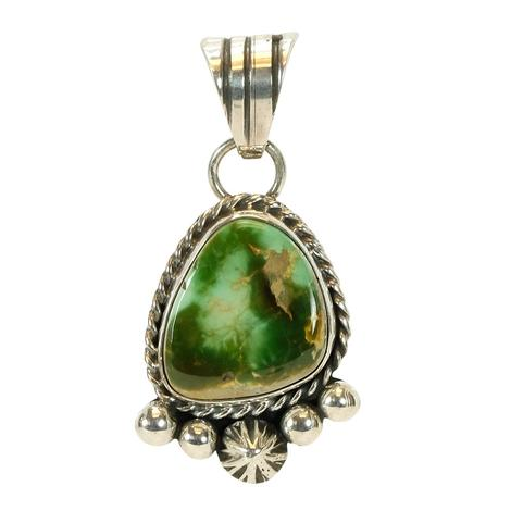 Sterling Silver and Green Gold Turquoise Pendant