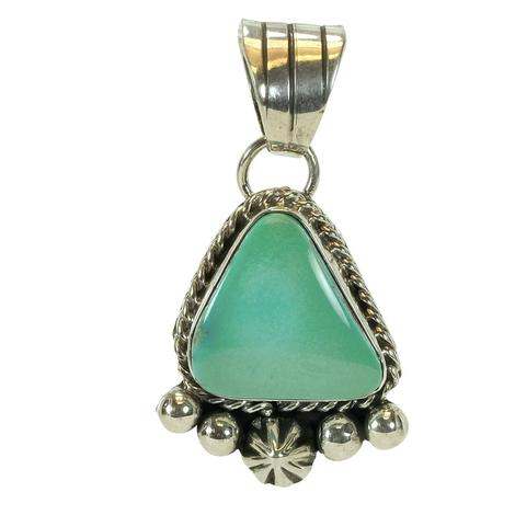 Sterling Silver and Aqua Gren Triangle Turquoise Stone Pendant