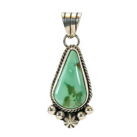 Sterling Silver Multi Green Turquoise Drop Pendant