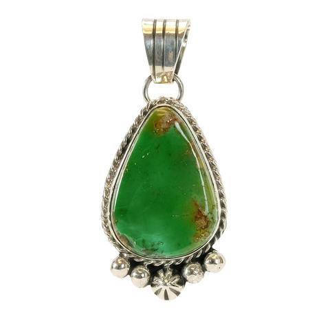 Sterling Silver and Dark Green and Gold Teardrop Turquoise Pendant