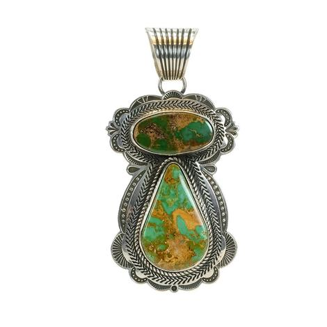 Sterling Silver Double Stone Tortoise Green Angel Pendant