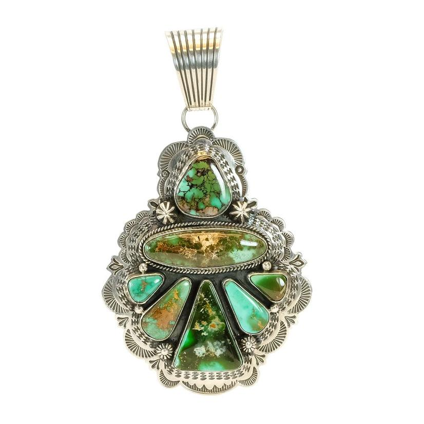 Sterling Silver And Multi Green Turquoise Stone Angel Pendant