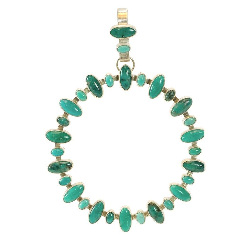 Turquoise Multi Dark Light Oval Stone Circular Pendant