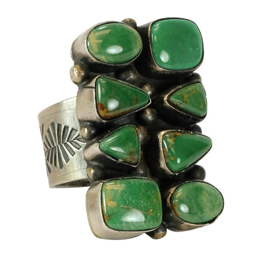 Sterling Silver And Dark Green Turquoise Eight Stone Ring