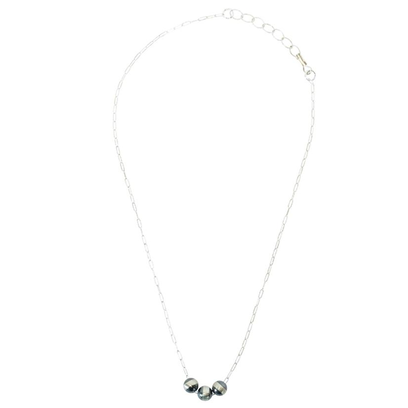 Sterling Silver With Three Navajo Pearls Necklace 8mm
