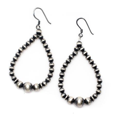 Navajo Pearl Drop Hoop Earrings