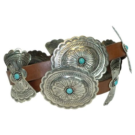 Classic Silver Oval Concho with Turquoise Stone Brown Belt
