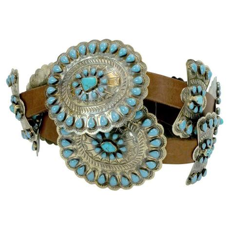 Rainbow Design Turquoise Concho Belt