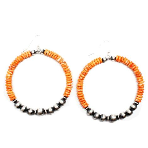Coral Spiny Oyster Hoop Earrings