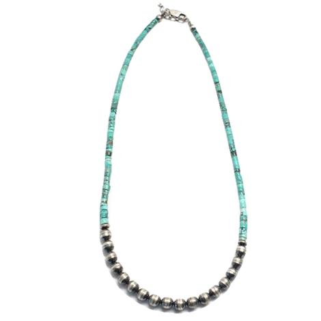 Sterling Silver Navajo Pearl and Turquoise Necklace