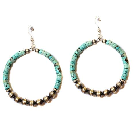Sterling Silver Navajo Pearl and Turquoise Hoop Earrings