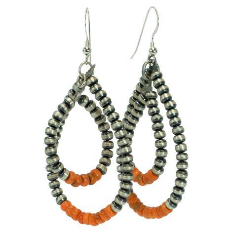 Navajo Pearl and Orange Stone Double Loop Earrings