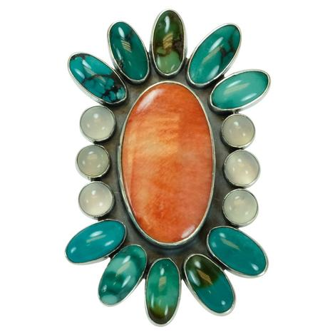 Turquoise Coral and Pearl Oval Ring