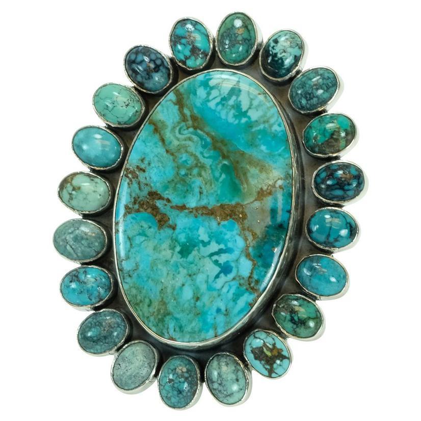 Large Multi Stone Turquoise Ring